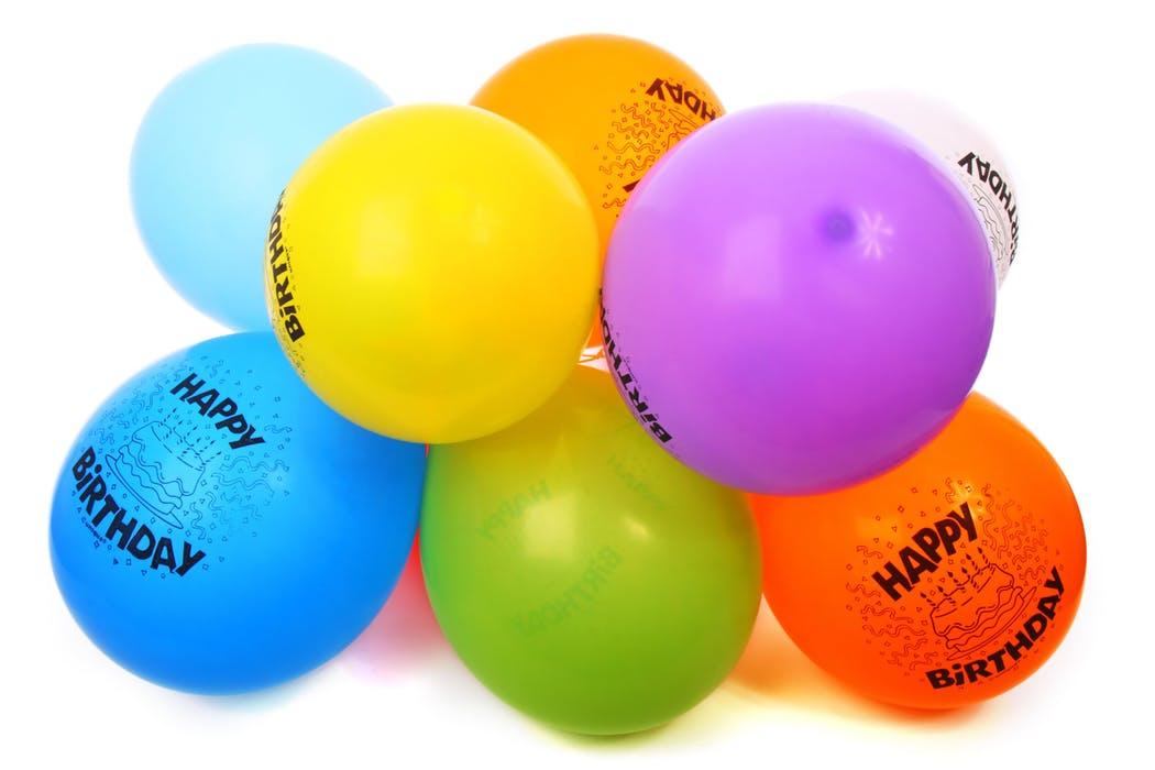 balloons with happy birthday prints