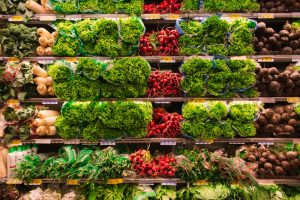vegetable section in a supermarket