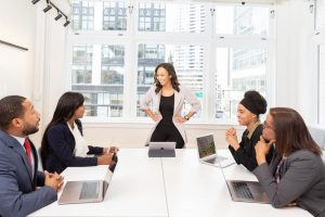 Group of people in their workplace having a meeting